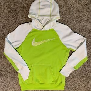 NIKE Therma-Fit Fleece Lime Green & White Hoodie